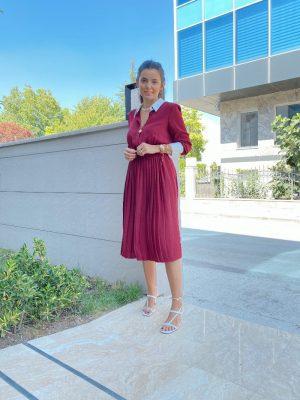Bordo Yaka Manşet Detaylı Elbise