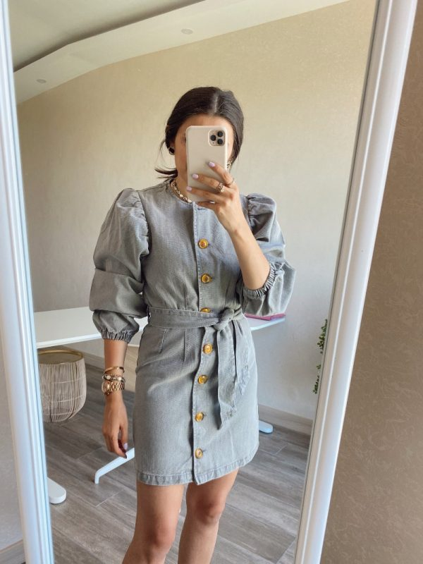 Duman Gri Düğmeli Kot Elbise