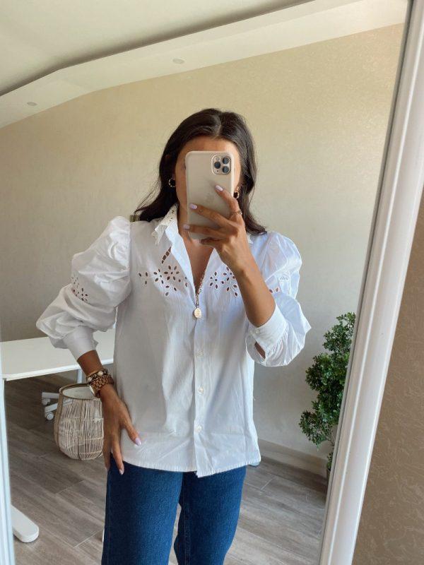 Beyaz Güpür Detaylı Poplin Gömlek