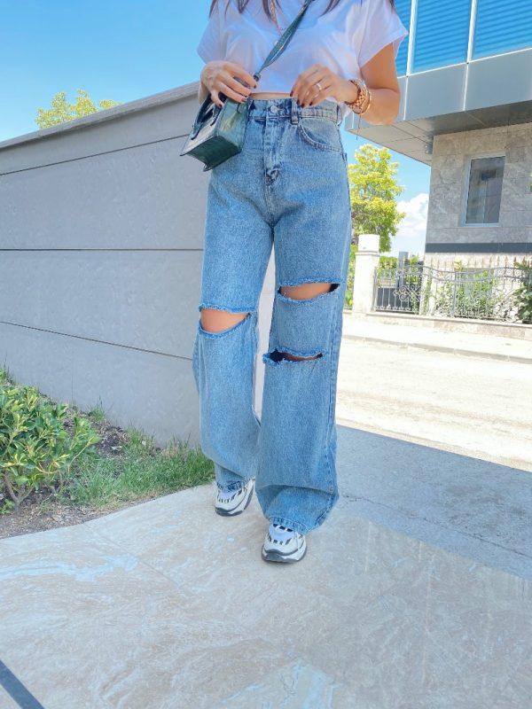 Yüksek Bel Yırtık Detaylı Bol Paça Jean
