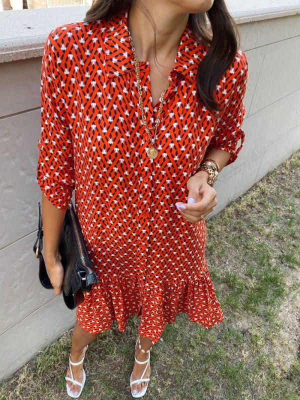 Berry Nar Çiçeği Gömlek Elbise