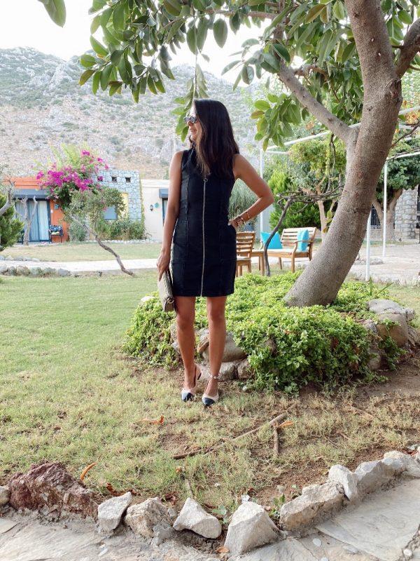 Fermuarlı Antrasit Kot Elbise