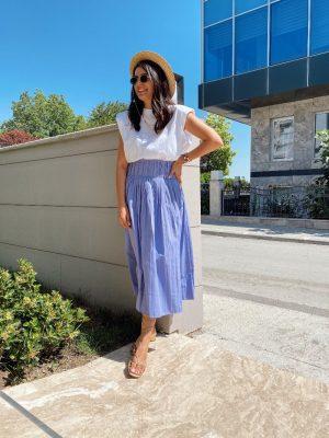 Zara Model Lila Piliseli Etek