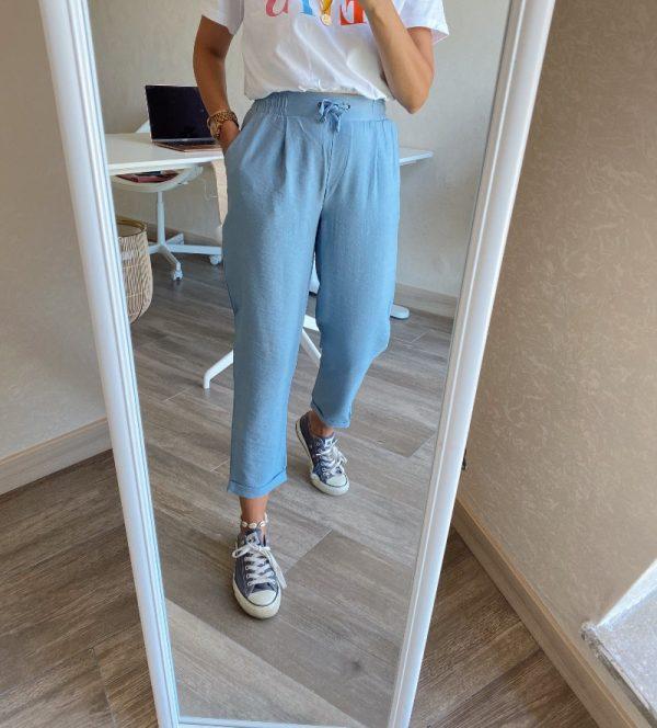 Mavi Dokuma Pantolon