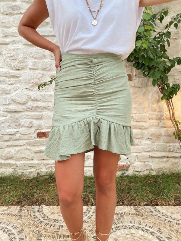 Zara Model Mint Yeşili Asimetrik Etek