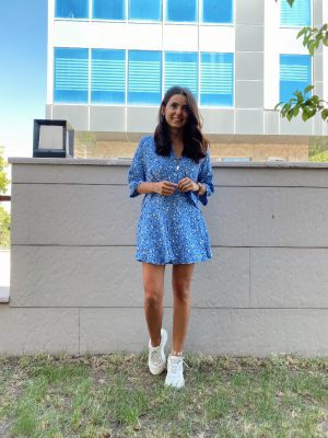 Mavi Çıtır Desen Gömlek