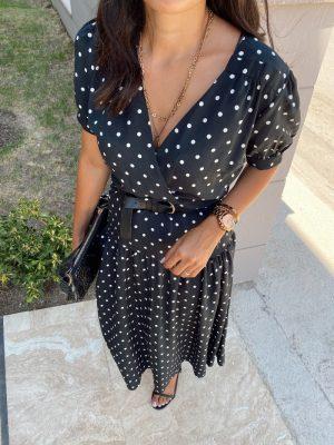 Siyah Sırt Detaylı Puantiye Elbise