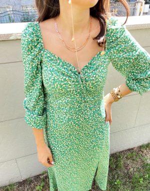 Yeşil Kol Detaylı Elbise