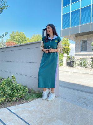 Yeşil Parçalı Sweat Elbise