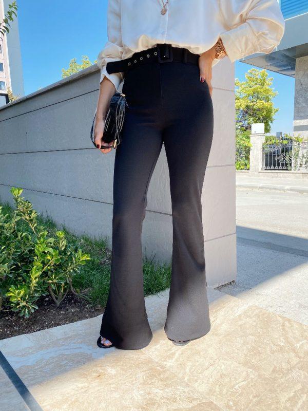 Kemerli İspanyol Paça Kumaş Pantolon