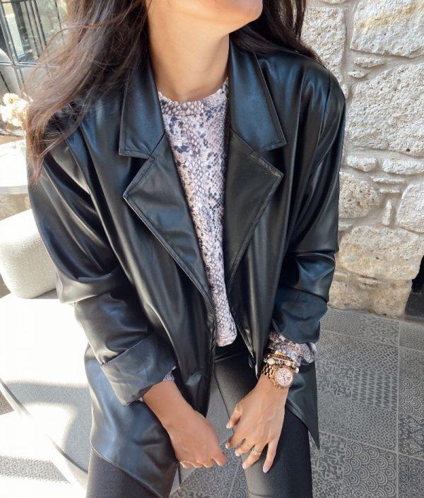 Deri Tek Düğüme Blazer Ceket