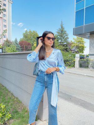 Bebe Mavi Kruvaze Bluz