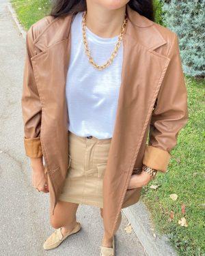 Taba Deri Blazer Ceket