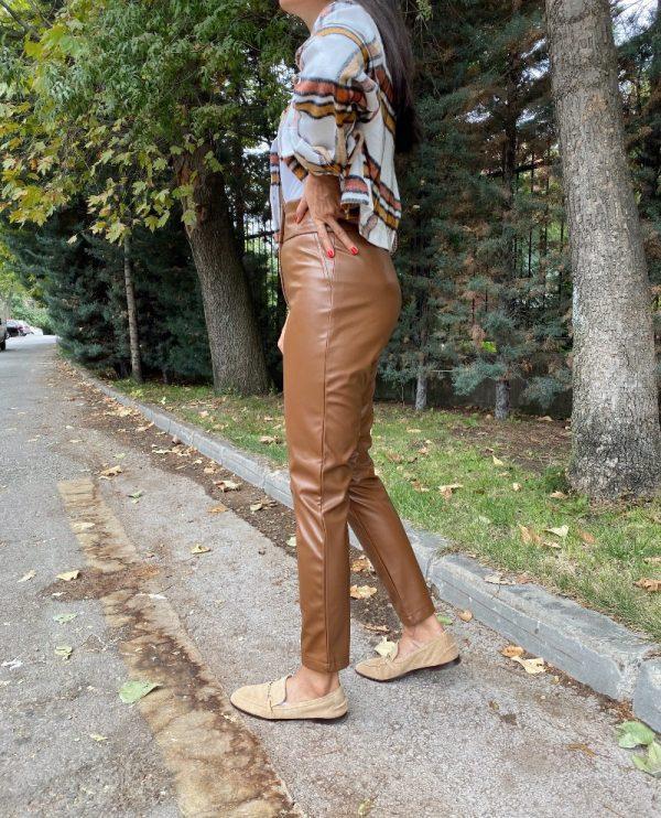 Taba Ultra Yüksek Bel Deri Pantolon