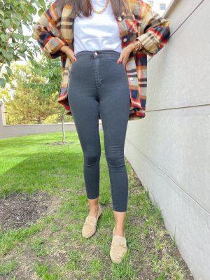 Antrasit Ultra Yüksek Bel Streç Jean