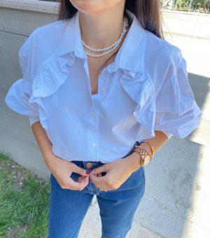 Beyaz Fırfırlı Poplin Gömlek