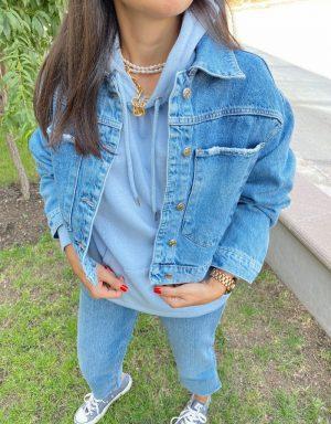 Yırtık Detaylı Crop Kot Ceket
