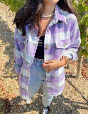 Lila Oduncu Gömlek Ceket