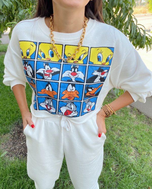 Beyaz Looney Tunes Baskılı Eşofman Takımı