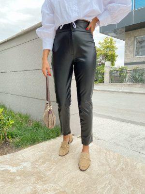Siyah Ultra Yüksek Bel Deri Pantolon