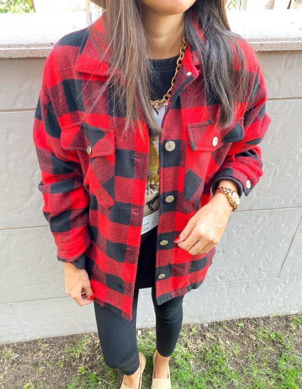 Kırmızı Kareli Oduncu Ceket