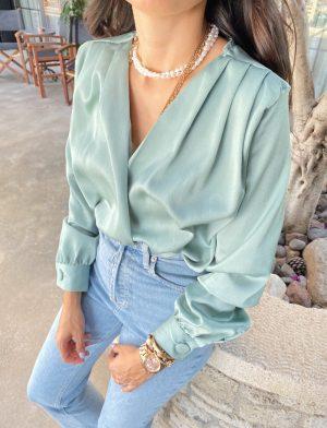 Mint Kruvaze Bodysuit Bluz