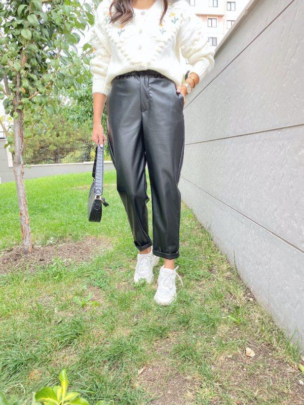 Siyah Beli Lastikli Duble Paça Pantolon