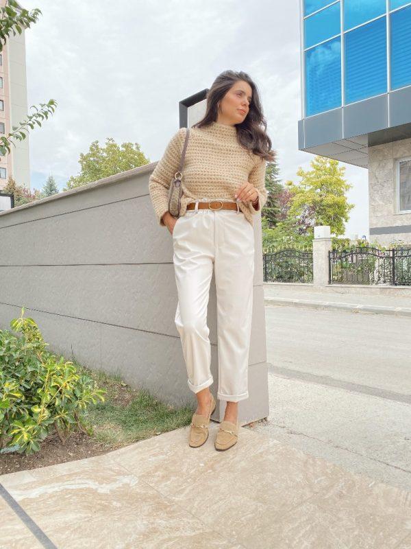 Taş Renk Beli Lastikli Deri Pantolon