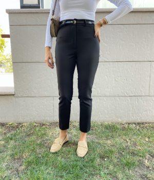 Siyah Kemerli Havuç Pantolon