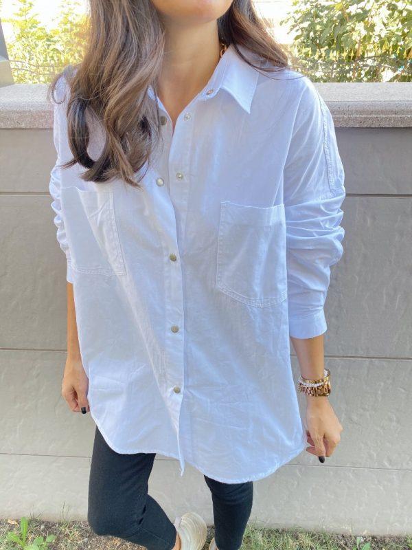 Beyaz İki Cepli Poplin Gömlek