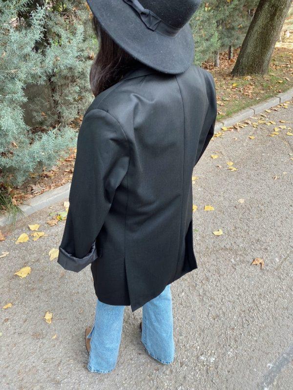Siyah Oversize Çift Düğme Blazer Ceket