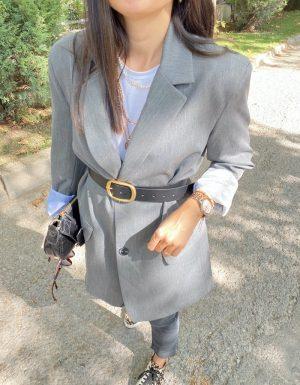 Gri Oversize Astarlı Ceket