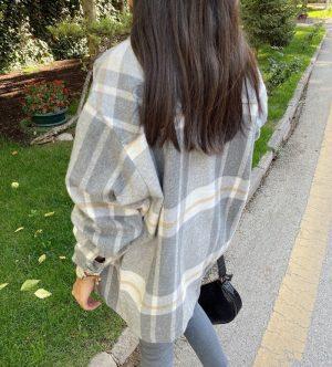 Gri Kareli Oduncu Ceket