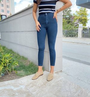 Lacivert Yüksek Bel Streç Jean
