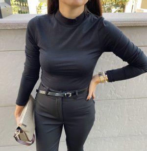 Siyah Dik Yaka Uzun Kol Bodysuit