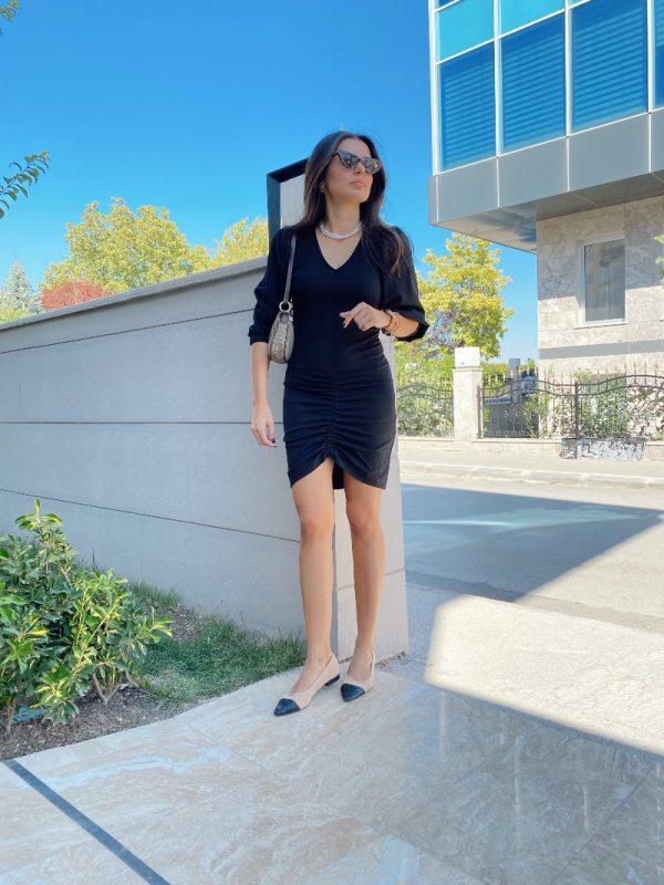 Siyah Büzgülü Elbise