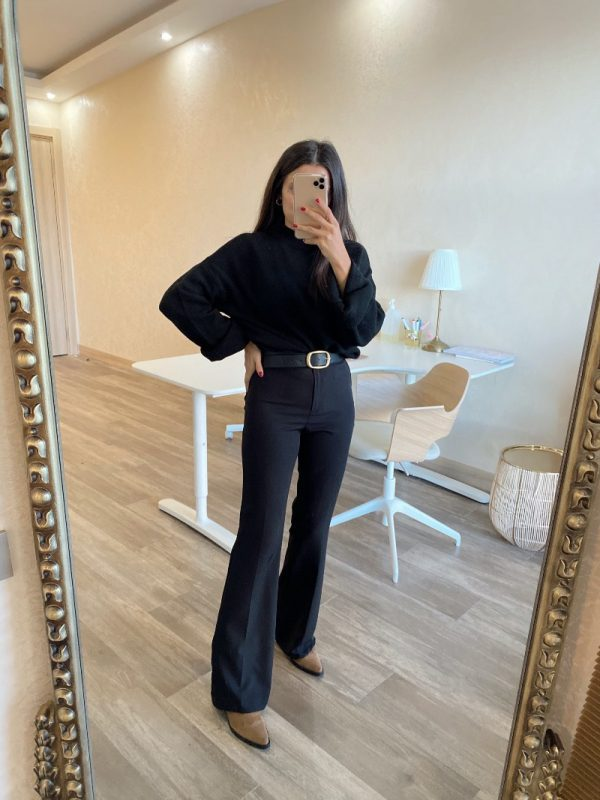 Valeur Siyah İspanyol Paça Kumaş Pantolon