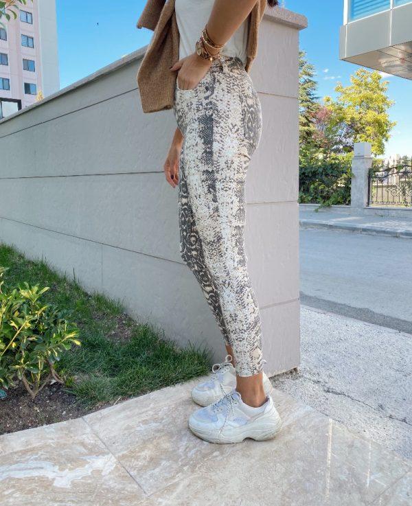 Yılan Desen Skinny Jean