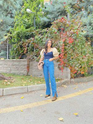 Topshop Koyu Mavi Yırtmaç Detay Jean