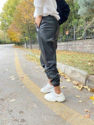 Siyah Jogger Deri Pantolon