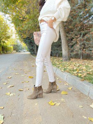 Taş Renk Fermuarlı Deri Pantolon