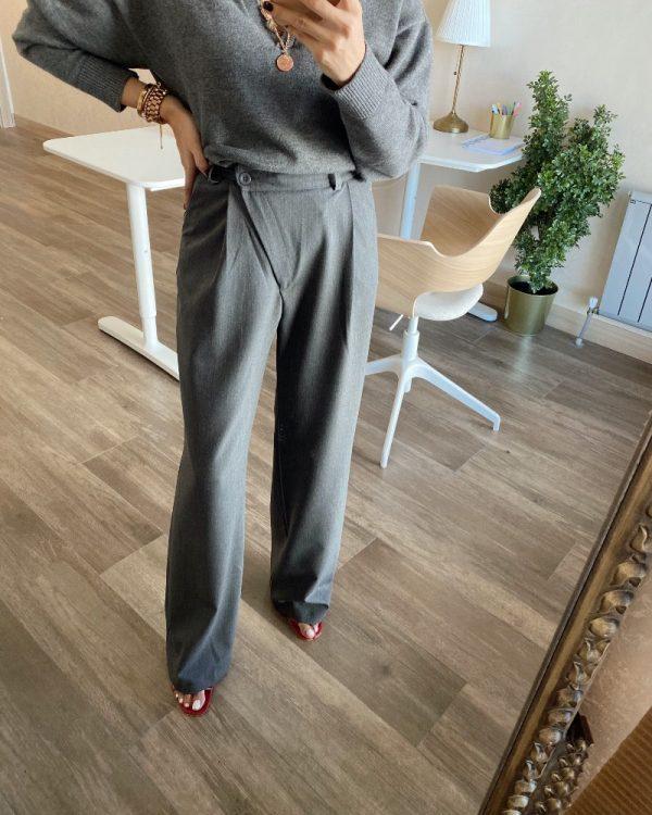 Füme Yandan Düğmeli Kumaş Pantolon