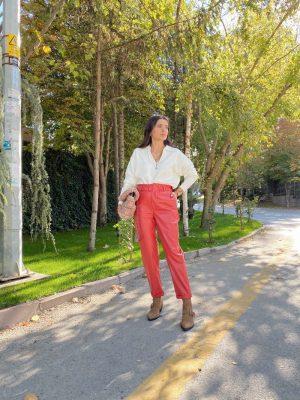 Kırmızı Duble Paça Deri Pantolon