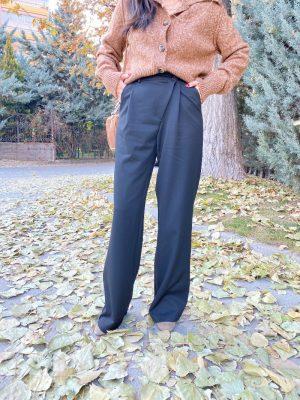 Siyah Çapraz Düğmeli Kumaş Pantolon