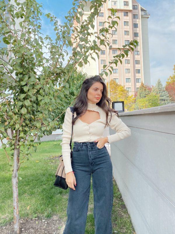 Zara Bej Pencere Detaylı Hırka