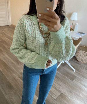 Mint Yeşili Pullu Kazak