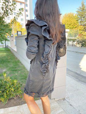 Fırfır Detaylı Antrasit Kot Elbise