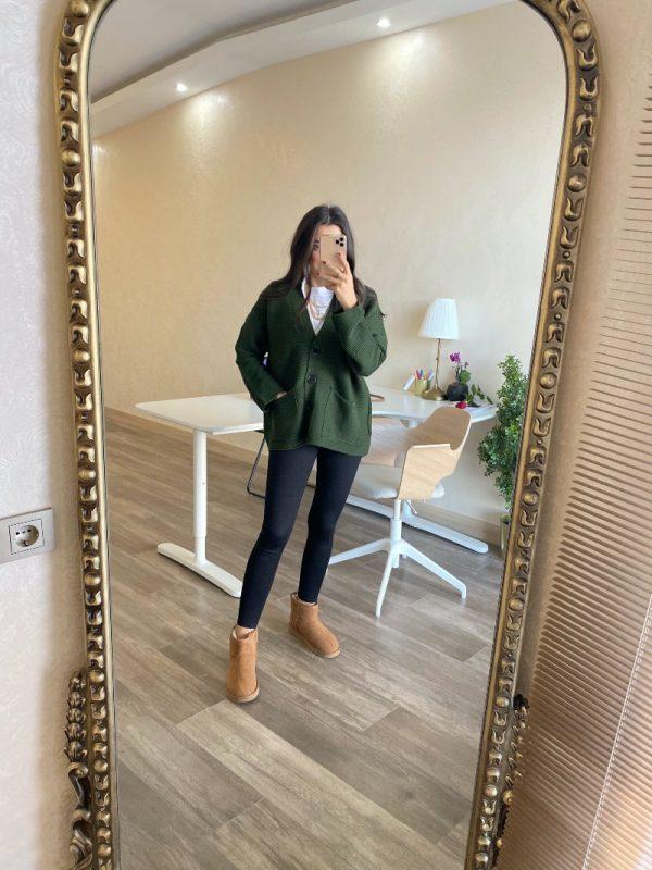 Zara Yeşil Cepli Hırka