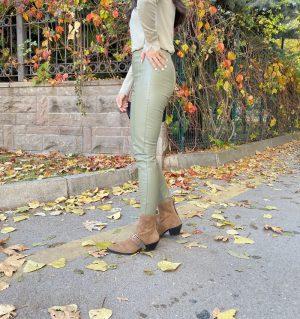 Haki Fermuarlı Tayt Pantolon