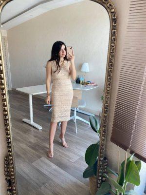 Bal Renk Dantel İşlemeli Elbise